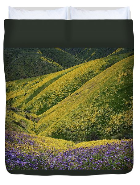 Yellow And Purple Wildlflowers Adourn The Temblor Range At Carrizo Plain National Monument Duvet Cover by Jetson Nguyen