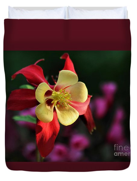 Yellow And Red Columbine Duvet Cover
