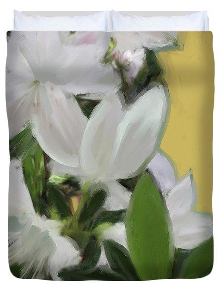 Yellow And White Flower Art 1  Duvet Cover