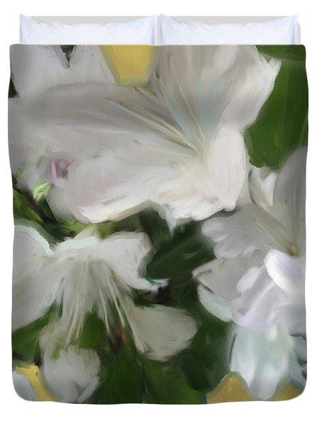Yellow And White Flower Art 2 Duvet Cover