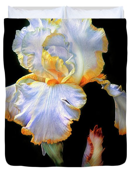 Yellow And White Iris Duvet Cover
