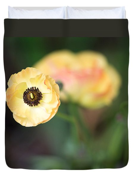 Yellow Anemone Center  Duvet Cover