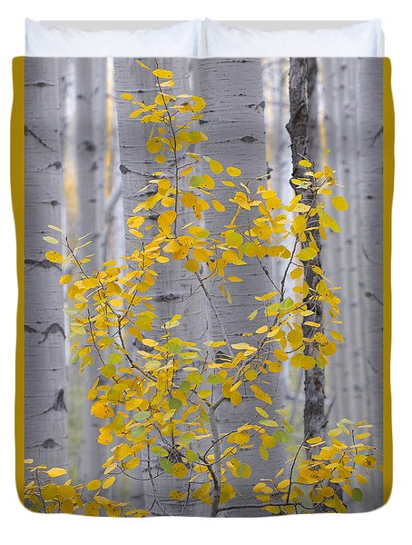 Yellow Aspen Tree Duvet Cover