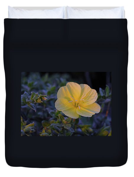 Duvet Cover featuring the photograph Yellow Beach Evening Primrose by Marie Hicks