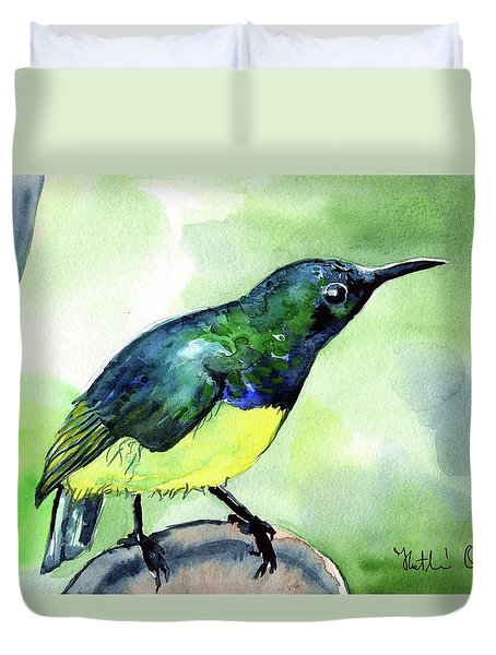Yellow Bellied Sunbird Duvet Cover