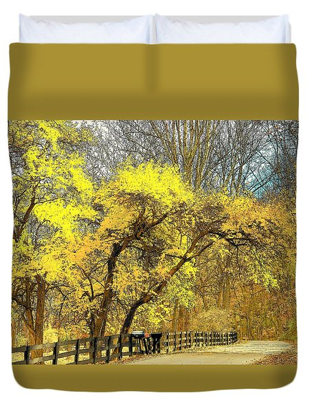 Yellow Bend Duvet Cover by Joyce Kimble Smith