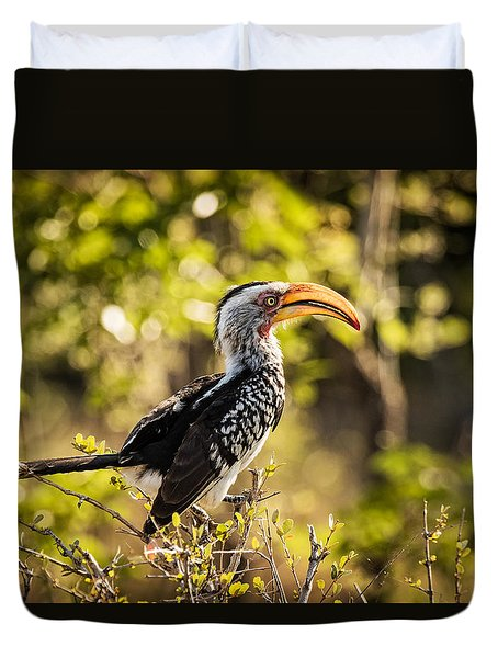 Duvet Cover featuring the photograph Yellow-billed Hornbill by Stefan Nielsen