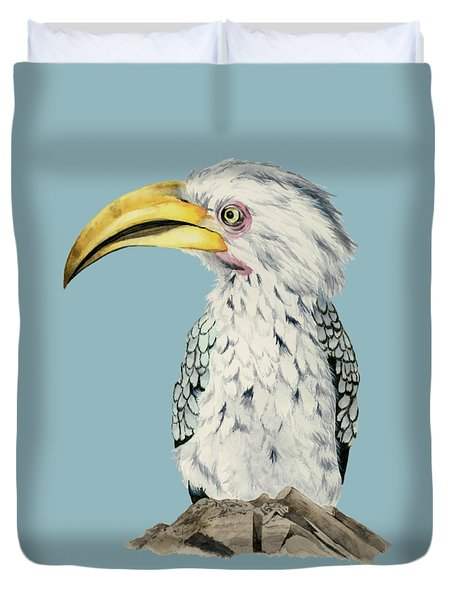 Yellow-billed Hornbill Watercolor Painting Duvet Cover by NamiBear