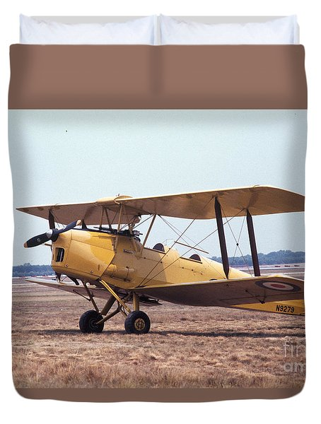 Duvet Cover featuring the photograph Yellow Bipe by Donald Paczynski