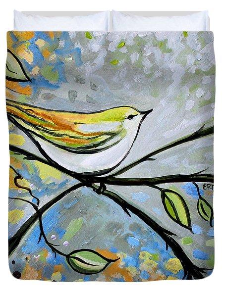 Yellow Bird Among Sage Twigs Duvet Cover