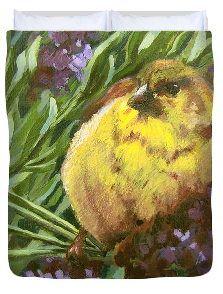 Duvet Cover featuring the painting Yellow Bird by Karen Ilari