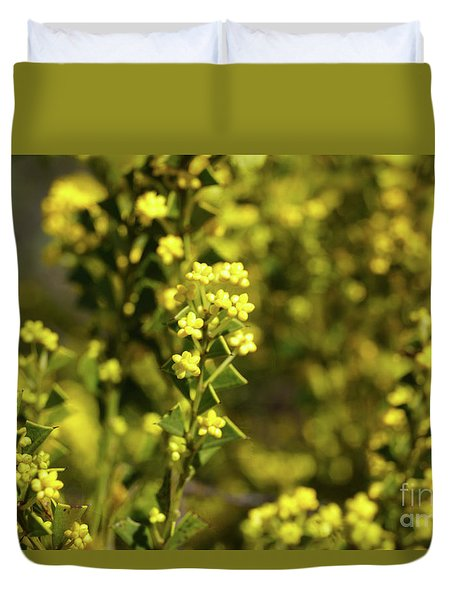 Yellow Blooms Duvet Cover by Cassandra Buckley