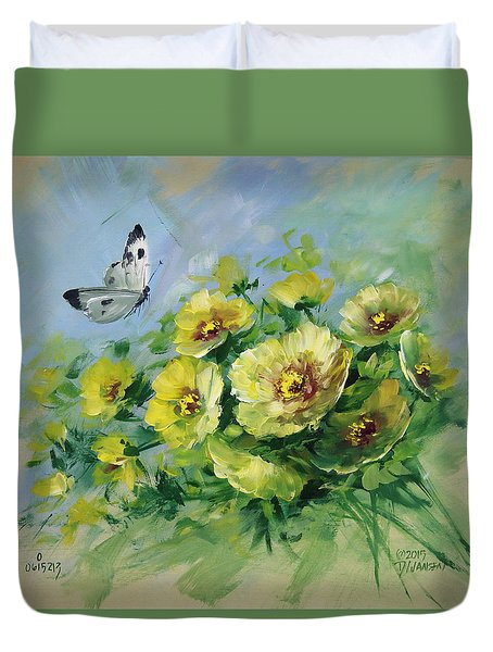 Yellow Blossoms And Butterfly Duvet Cover by David Jansen