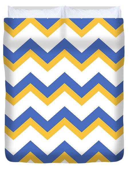 Yellow Blue Chevron Pattern Mixed Media By Christina Rollo