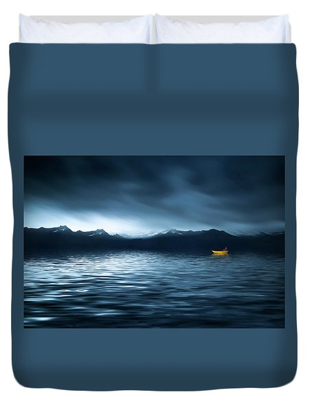 Duvet Cover featuring the photograph Yellow Boat by Bess Hamiti