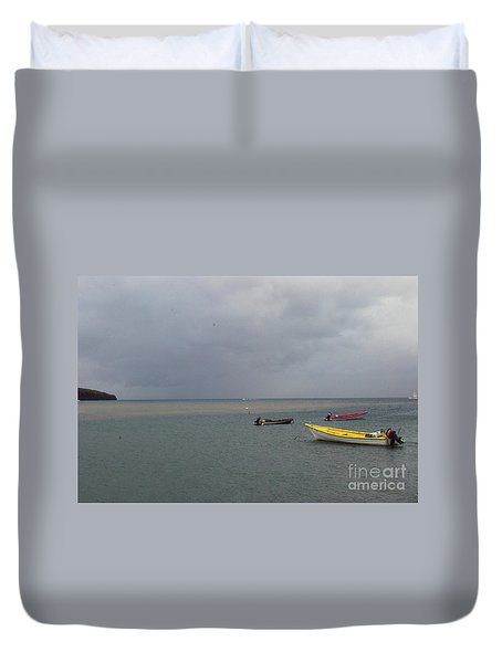 Duvet Cover featuring the photograph Yellow Boat by Gary Wonning