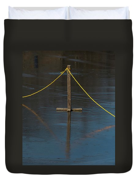 Duvet Cover featuring the photograph Yellow Boundary On Ice by Gary Slawsky