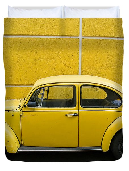 Yellow Bug Duvet Cover by Skip Hunt