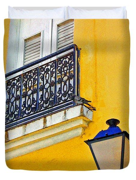 Yellow Building Duvet Cover by Debbi Granruth