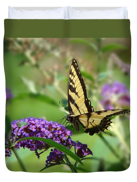 Yellow Butterfly On Purple Duvet Cover