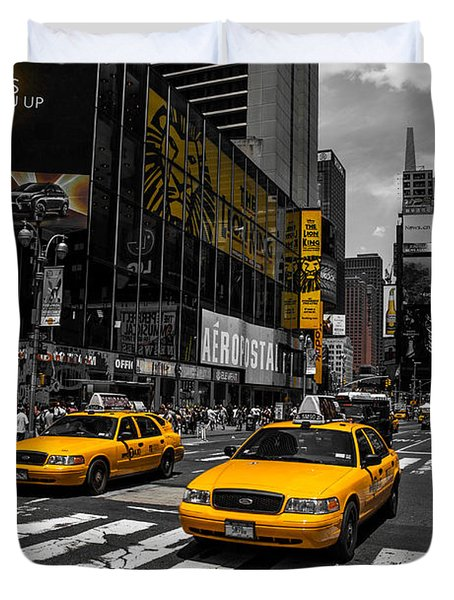 Yellow Cabs Cruisin On The Times Square  Duvet Cover