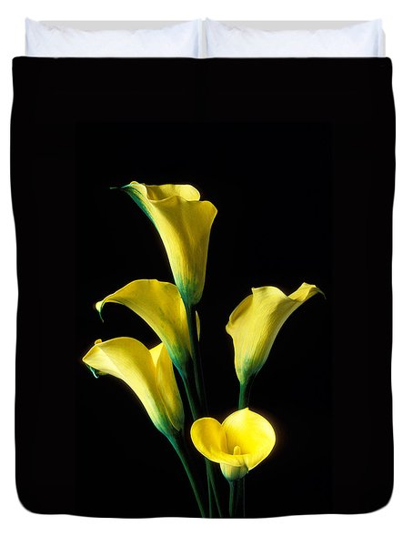 Yellow Calla Lilies  Duvet Cover by Garry Gay