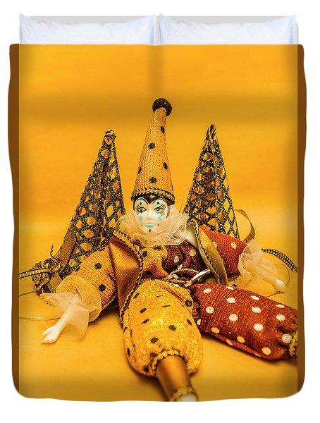 Yellow Carnival Clown Doll Duvet Cover
