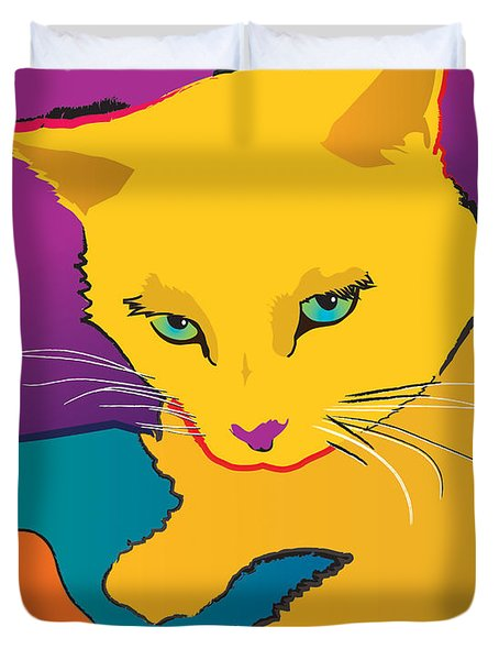 Yellow Cat Duvet Cover