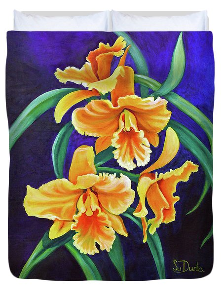 Yellow Cattlya Orchids Duvet Cover