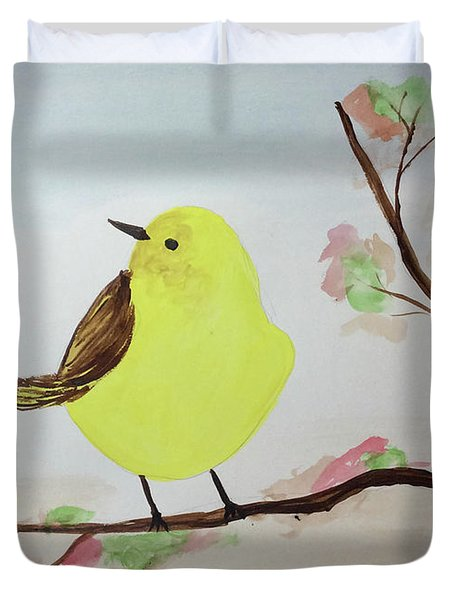 Yellow Chickadee On A Branch Duvet Cover