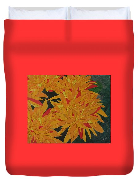Yellow Chrysanthemums Duvet Cover