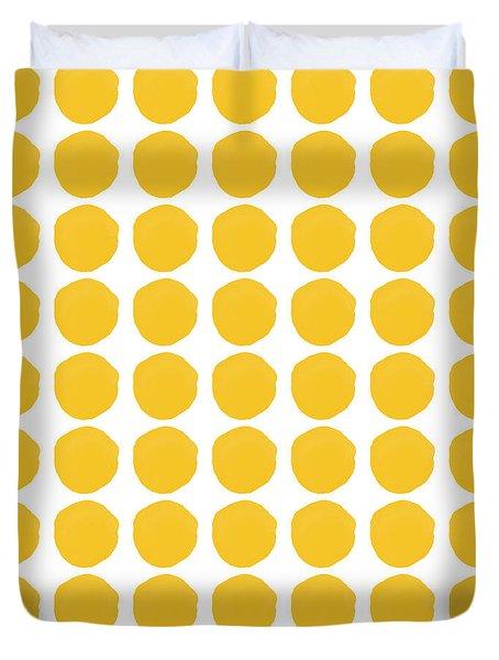 Yellow Circles- Art By Linda Woods Duvet Cover