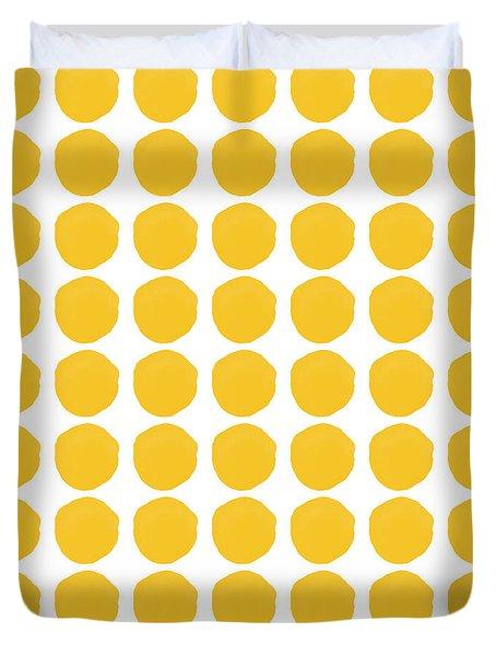Yellow Circles- Art By Linda Woods Duvet Cover by Linda Woods