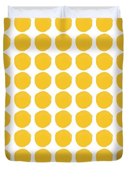 Duvet Cover featuring the mixed media Yellow Circles- Art By Linda Woods by Linda Woods