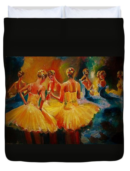 Yellow Costumes Duvet Cover by Khalid Saeed