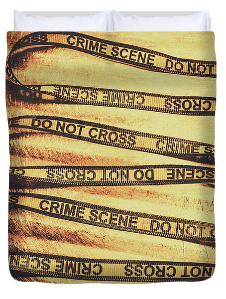 Yellow Crime Scene Ribbon On Metal Background Duvet Cover