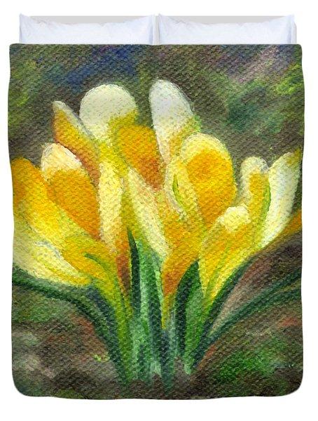 Yellow Crocus Duvet Cover
