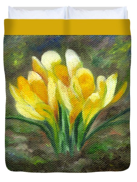 Yellow Crocus Duvet Cover
