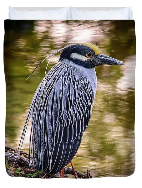 Duvet Cover featuring the photograph Yellow-crowned Night-heron by Steven Sparks