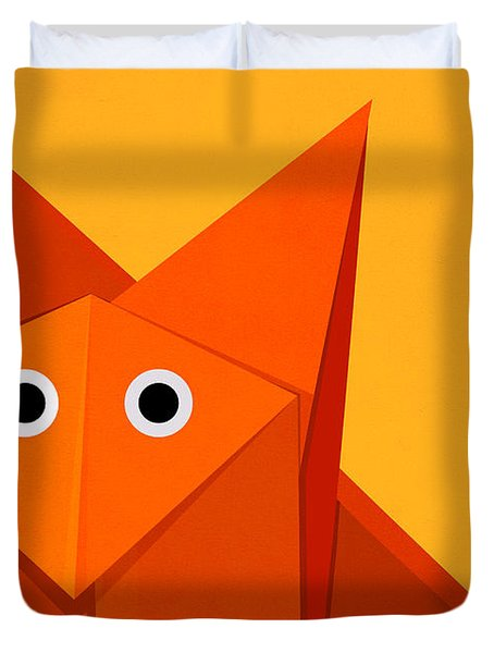 Yellow Cute Origami Fox Duvet Cover
