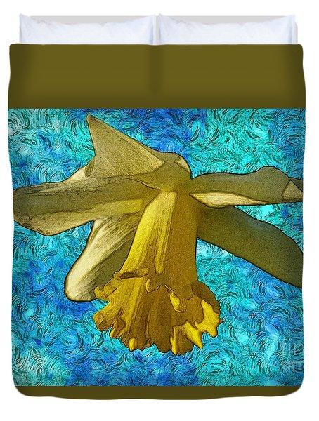 Yellow Daffodil 3 Duvet Cover by Jean Bernard Roussilhe