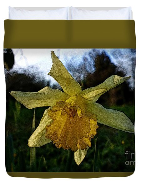 Yellow Daffodils 5 Duvet Cover by Jean Bernard Roussilhe