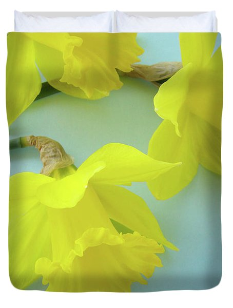 Yellow Daffodils Artwork Spring Flowers Art Prints Nature Floral Art Duvet Cover by Baslee Troutman