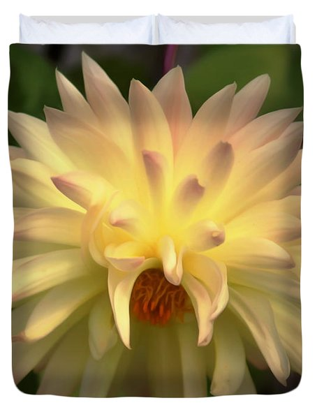 Yellow Dahlia Duvet Cover by Erica Hanel