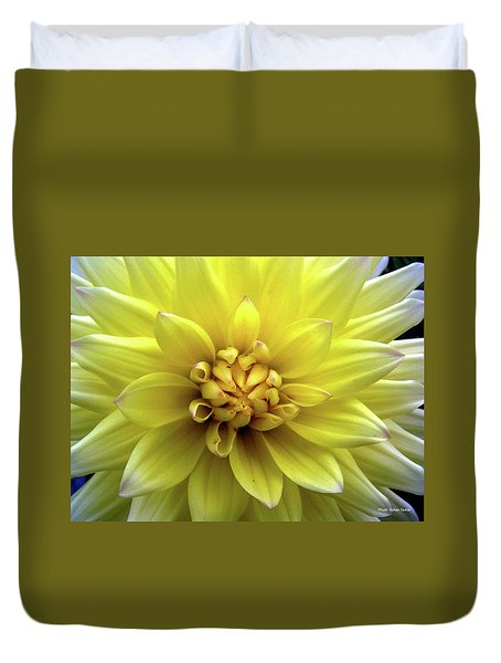 Yellow Dahlia Duvet Cover