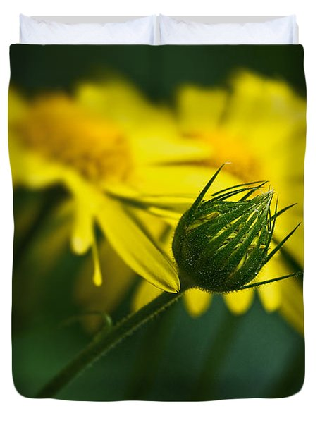 Yellow Daisy Bud Duvet Cover