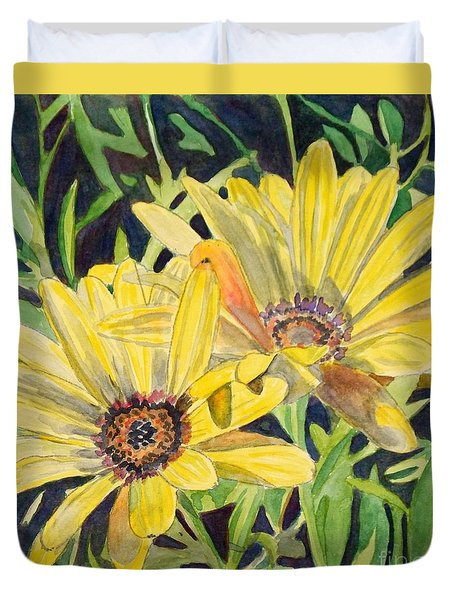 Duvet Cover featuring the painting Yellow Daisy by LeAnne Sowa