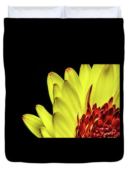 Yellow Daisy Peeking Duvet Cover