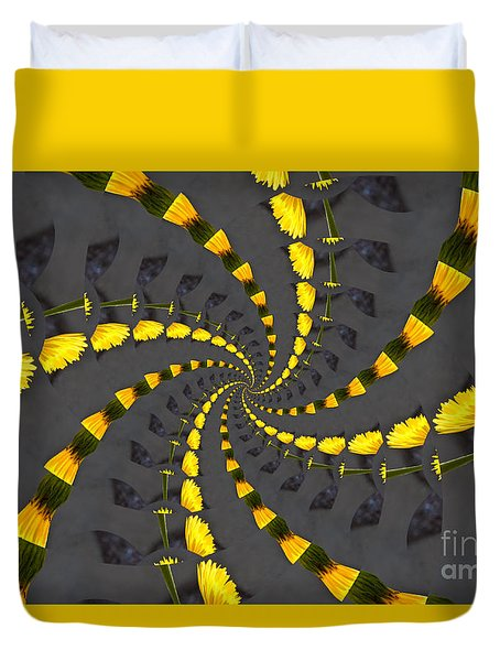 Yellow Daisy Spin Wheel  Duvet Cover