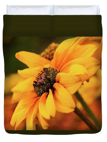 Duvet Cover featuring the photograph Yellow Dark by Mary Jo Allen